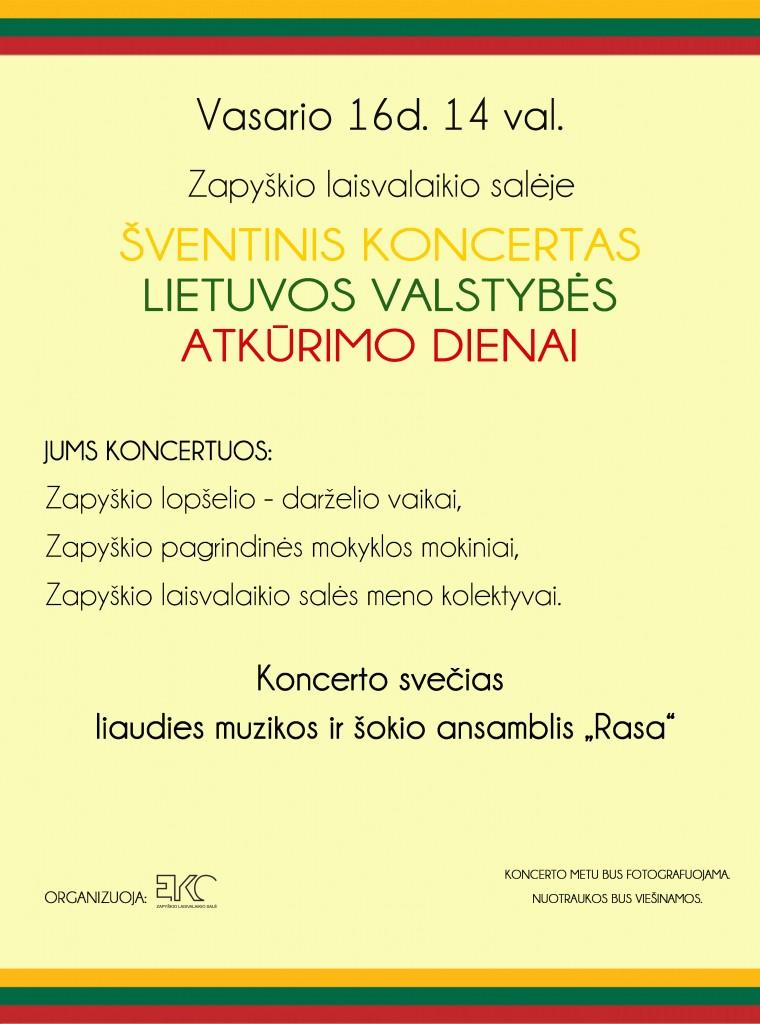 Vasario 16d. koncerto Zapyškyje skelbimas