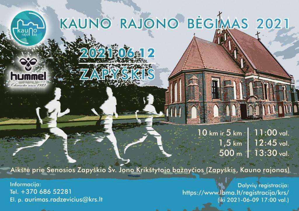 Kauno rajono bėgimo 2021 plakatas